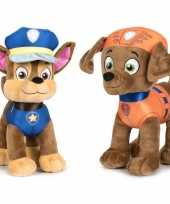 Paw patrol knuffels set van 2x karakters chase en zuma 27 cm hond