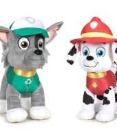 Paw patrol knuffels set van 2x karakters rocky en marshall 27 cm hond