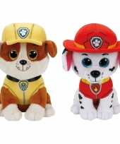 Paw patrol knuffels set van 2x karakters rubble en marshall 15 cm hond