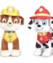 Paw patrol knuffels set van 2x karakters rubble en marshall 27 cm hond