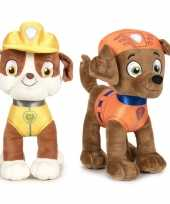 Paw patrol knuffels set van 2x karakters rubble en zuma 27 cm hond