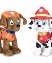 Paw patrol knuffels set van 2x karakters zuma en marshall 27 cm hond